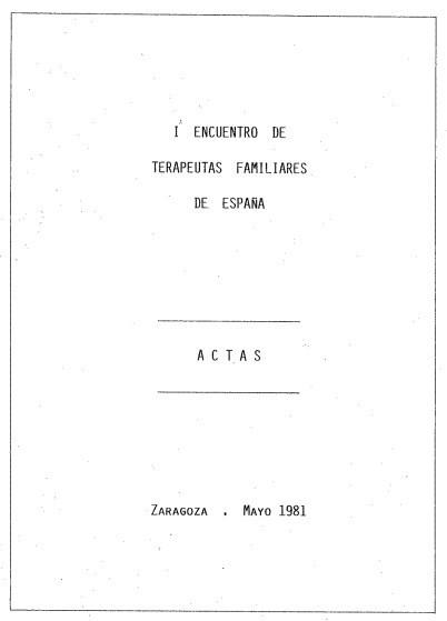 Actas 1 Encuentro de Terapeutas Familiares 1981
