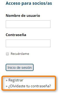 formulario de acceso para socios